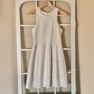 Altar'd State White Mini Dress with Gold